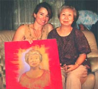 Jane with Hiroshima survivor and her portrait